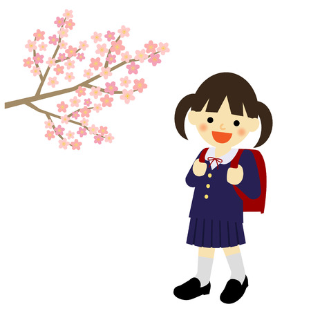 School girl with blooming cherry blossoms