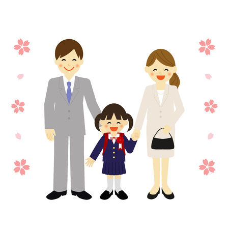 girl with parents at school ceremony