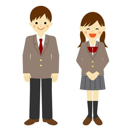 Illustration pour Uniformed school boy and school girl - image libre de droit