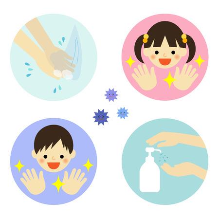 Ilustración de Hand washing with water and alcohol for kids - Imagen libre de derechos