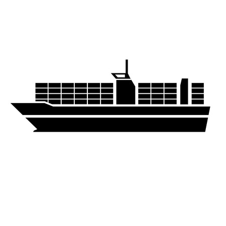 Illustration pour vector flat design container ship boat transportation icon black isolated on white background - image libre de droit