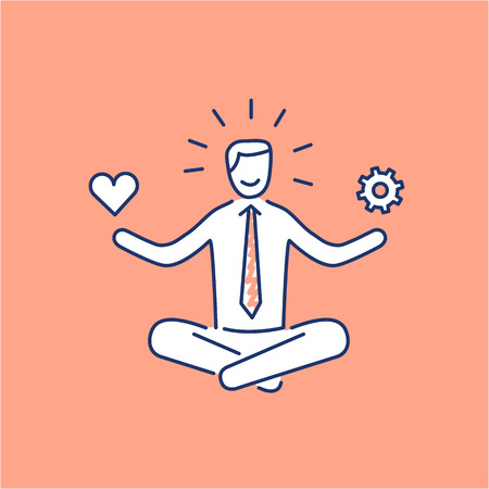 Illustrazione per Vector stress management skills icon with meditating businessman balancing work and personal life  - Immagini Royalty Free