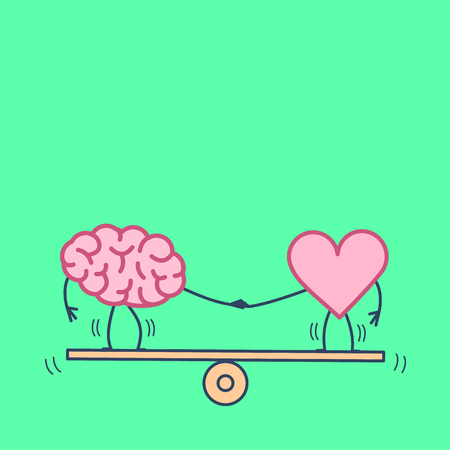 Illustration for Brain and heart balancing. Vector concept illustration of balance between mind and feelings| flat design linear infographic icon on green background - Royalty Free Image