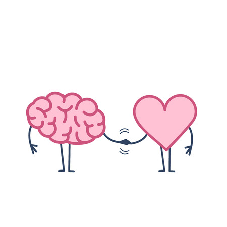 Illustration for Brain and heart handshake. Vector concept illustration of teamwork between mind and feelings | flat design linear infographic icon colorful on white background - Royalty Free Image