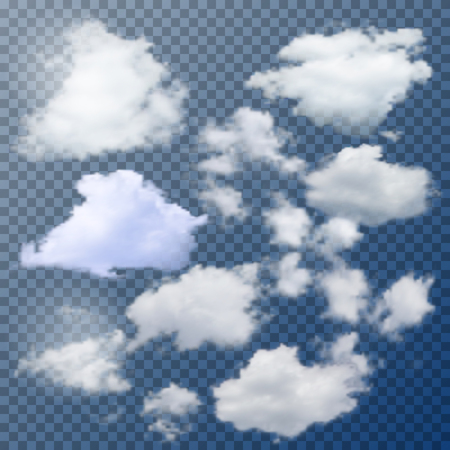 Illustration pour Set of different isolated vector clouds on transparent background. - image libre de droit