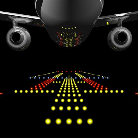 Runway Lights Reflected in Jet Airliner