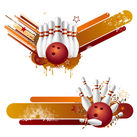 illustration of bowling strike