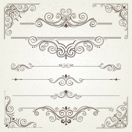 Foto per Vintage frames and scroll elements  - Immagine Royalty Free