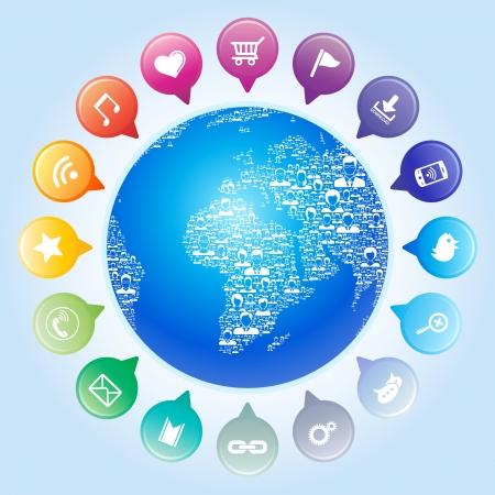 Foto de Global communication,Socia l network concept - Imagen libre de derechos