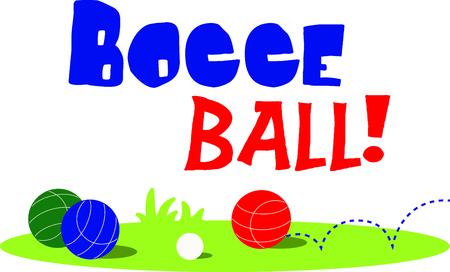 Ilustración de The game of bocce is a fun outdoor activity.  Use this image for your next design. - Imagen libre de derechos