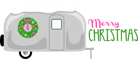 Illustration pour RV enthusiasts will like this snow-covered travel trailer with a Christmas wreath. - image libre de droit