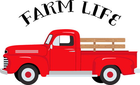Illustrazione per The classic farm truck will satisfy vehicle-lovers of any age!  A great design for T-shirts and sweatshirts. - Immagini Royalty Free