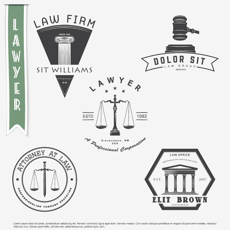Illustration pour Lawyer services. Law office. The judge, the district attorney, the lawyer set of vintage labels. Scales of Justice. Court of law symbol.  Typographic labels, stickers, logos and badges. Flat vector illustration - image libre de droit