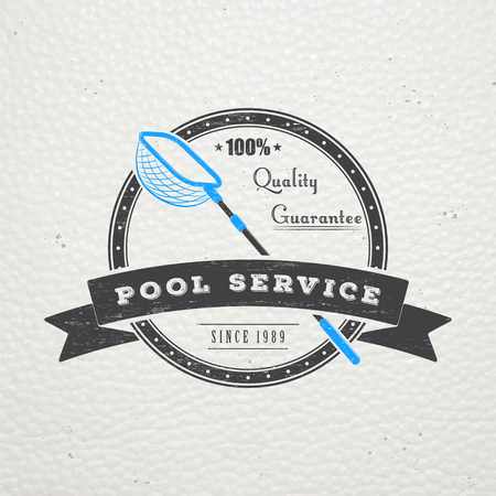 Illustration pour Pool Service. Maintenance and Cleaning. Repair and adjustment of the house. Old retro vintage grunge. Typographic labels, stickers, logos and badges. Flat vector illustration - image libre de droit