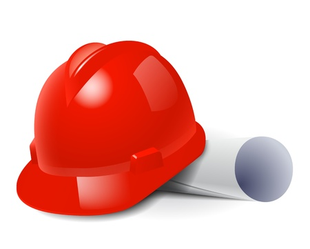 Illustration pour Red safety hard hat and drawings. Vector illustration - image libre de droit