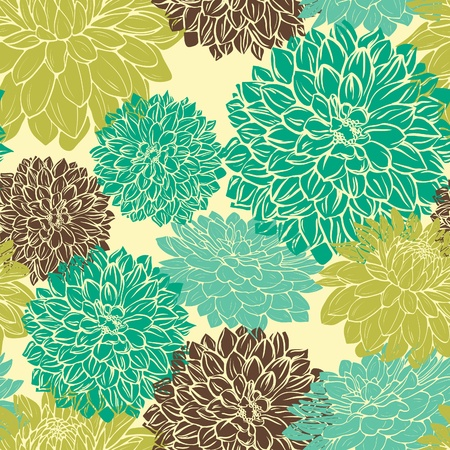 Floral seamless pattern with bluegreen and brown flowers on beige background mural