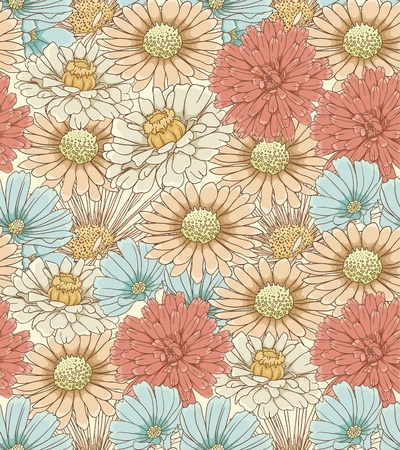 Floral seamless pattern with hand drawn flowers mural