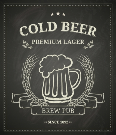 Cold beer poster on chalkboard mural
