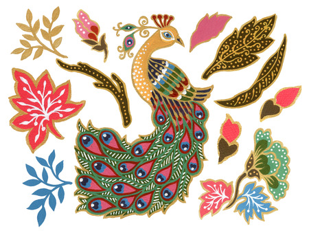 Photo for The beautiful of flower peacock bird art Malaysian and Indonesian Batik Sarong elements watercolor Gouache Hand Painted - Royalty Free Image