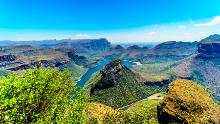 Photo for View of the Blyde River Dam and Blyde River Canyon from the Three Rondavels viewpoint on the Panorama Route in Mpumalanga Province of South Africa - Royalty Free Image