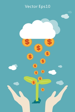 Illustration pour With the seedlings, the sky clouds falling from the gold dollar - image libre de droit