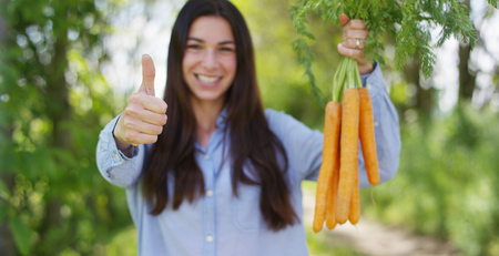 Foto de The young girl is holding a biological product of carrots, hands and carrots soiled with earth. Concept: biology, bio products, bio ecology, grow vegetables, vegetarians, natural clean and fresh product. - Imagen libre de derechos