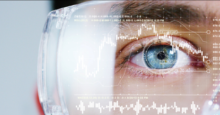 Foto per biometric of a scientist with futuristic graphics and holography with financial graphic. Concept: immersive technology, augmented reality, science and research, worldwide medical assistance - Immagine Royalty Free