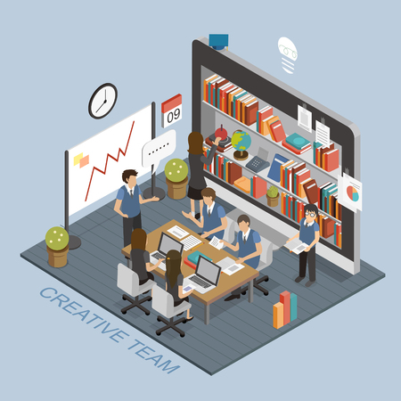 Ilustración de creative team concept in 3d isometric flat design - Imagen libre de derechos