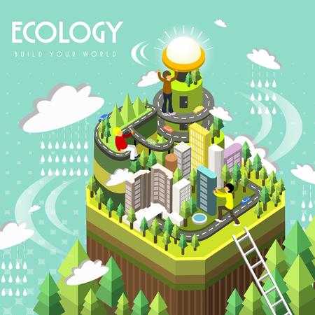 Illustration pour ecology concept in 3d isometric flat design - image libre de droit