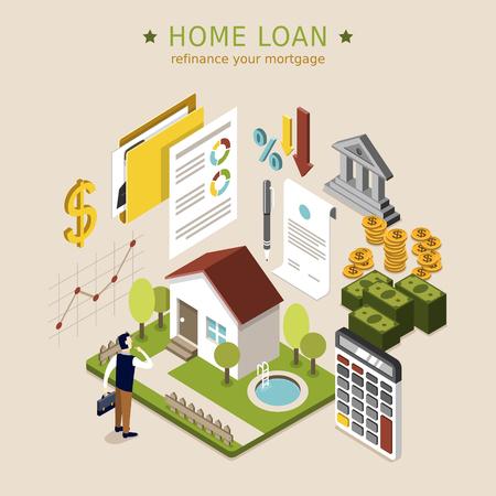Ilustración de home loan concept in 3d isometric flat design - Imagen libre de derechos