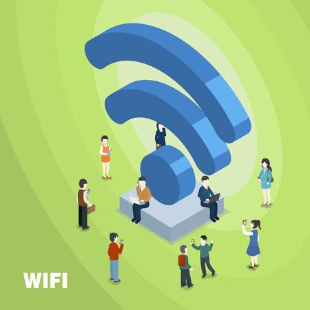 Ilustración de wifi connected concept in 3d isometric flat design - Imagen libre de derechos