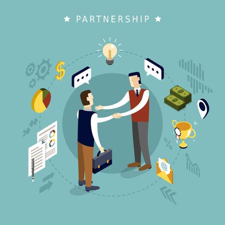 Illustration pour partnership concept in 3d isometric flat design - image libre de droit