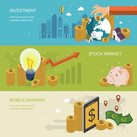 Illustration pour financial concept banner in 3d isometric flat design - image libre de droit