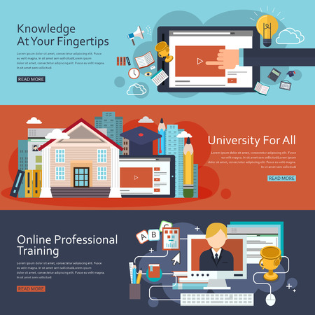 Illustration pour online education concept banners set in flat design - image libre de droit