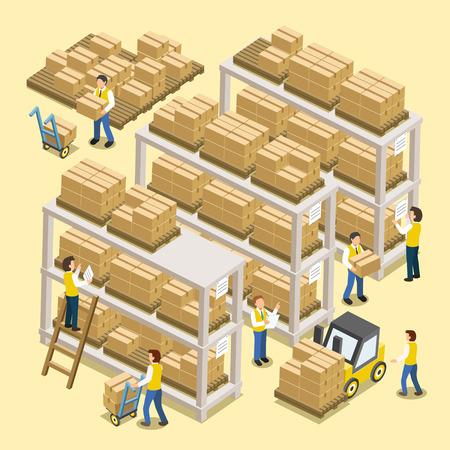 Illustration pour logistic working process in 3d isometric flat design - image libre de droit