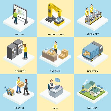 Illustration pour logistics working process in 3d isometric flat design - image libre de droit