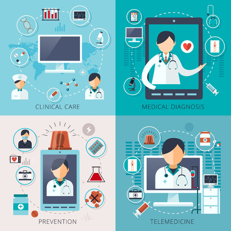 Illustration pour adorable telemedicine concept collection in flat style - image libre de droit