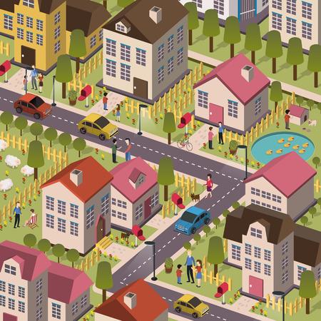 Ilustración de attractive friendly community in 3d flat design - Imagen libre de derechos