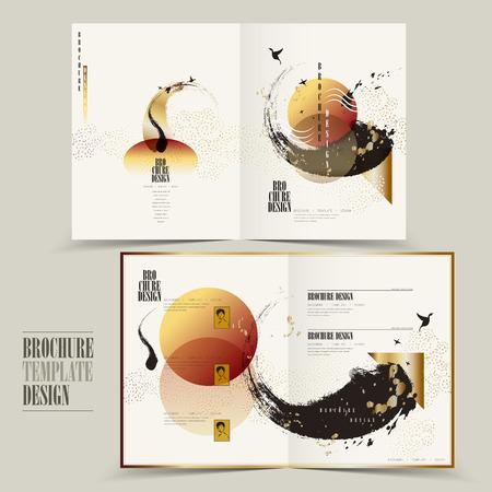 Illustration pour modern half-fold brochure template design with attractive brush stroke - image libre de droit