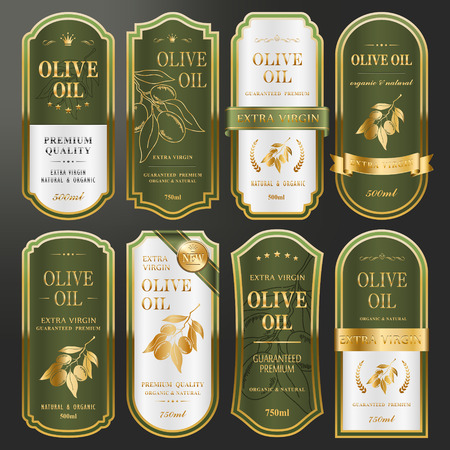 Ilustración de elegant golden labels collection set for premium olive oil - Imagen libre de derechos