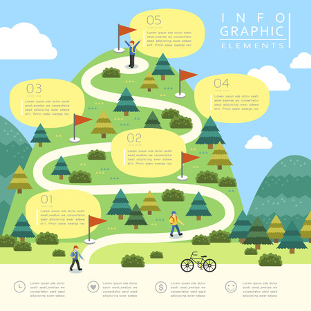 Illustration pour mountain hiking infographic template design in flat style - image libre de droit