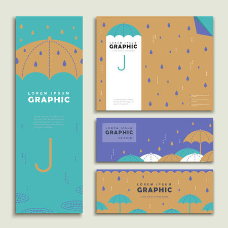 Photo pour rainy day banner template design set with lovely umbrella - image libre de droit