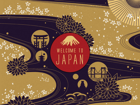 Ilustración de Elegant Japan travel poster, gorgeous floral background with welcome words - Imagen libre de derechos