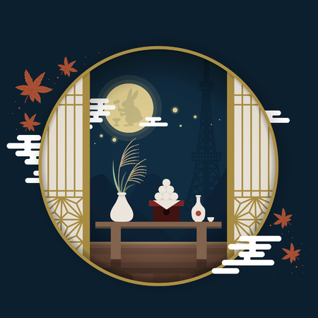 Illustration pour Japanese tourism poster, moon festival scenery outside the round window - image libre de droit