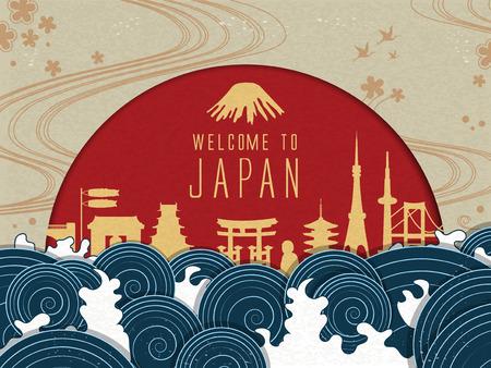 Ilustración de Elegant Japan travel poster with red sun and beautiful tides - Imagen libre de derechos