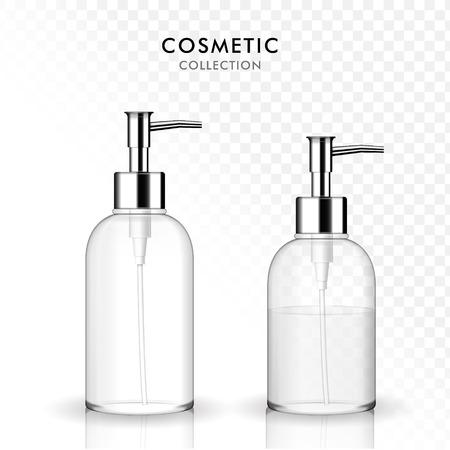 Illustration pour Cosmetic liquid soap bottle,3D illustration realistic transparent plastic bottle template, shampoo, gel container, empty and filled. - image libre de droit