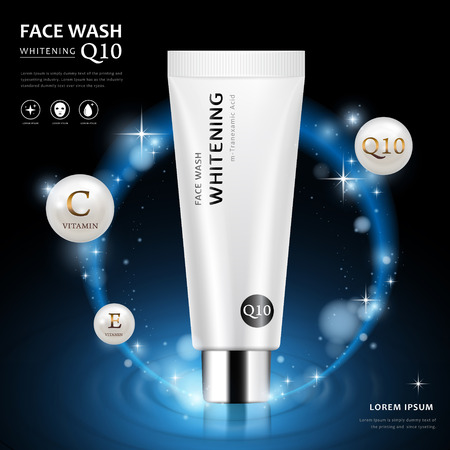 Illustration pour Face wash ad template, blank cosmetic tube package design isolated on dark blue background, 3D illustration with sparkling elements - image libre de droit