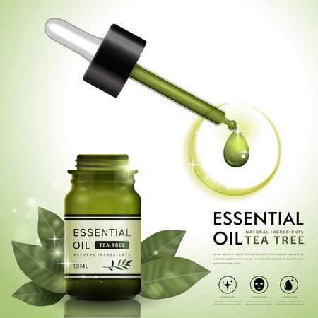 Ilustración de Essential oil ad template, tea tree oil dropper bottle design with leaves elements, 3D illustration - Imagen libre de derechos