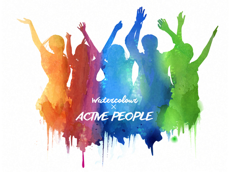 Illustration pour Watercolor jumping silhouette, people in the concert or carnival in watercolor style. - image libre de droit