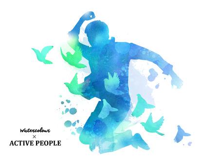 Ilustración de Watercolor jumping silhouette, young boy jumping with pigeons around him in watercolor style. Blue tone. - Imagen libre de derechos